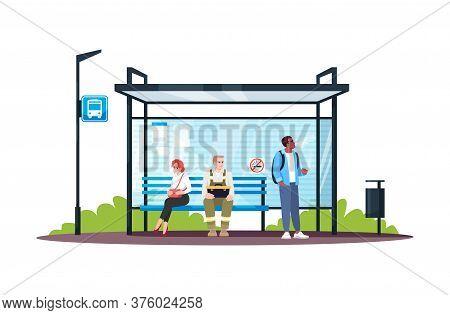 Guy Smoking At A No Smoking Bus Stop Semi Flat Rgb Color Vector Illustration. Irritating Behaviour I