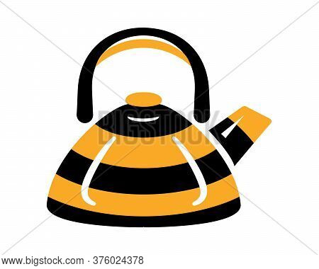 Teapot Steel Vector Icon Flat Style. Black And Yellow Bee Kettle On Isolated Background. Warm Comfor
