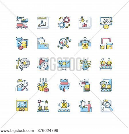 Production Process Rgb Color Icons Set. Manufacturing Industry. Commercial Product Development And M