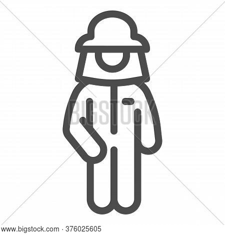 Beekeeper Line Icon, Beekeeping Concept, Beekeeper In Protection Uniform And Hat Sign On White Backg