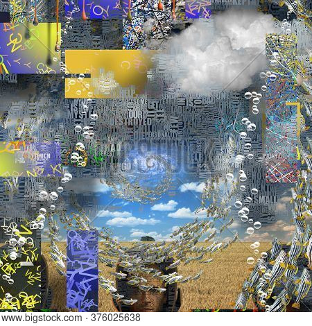 Complex surreal composition. Vortex of fish and Words. 3D rendering