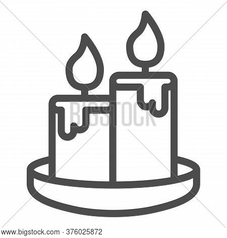 Wax Candles Line Icon, Honey Concept, Two Burning Candle Sign On White Background, Candles Icon In O