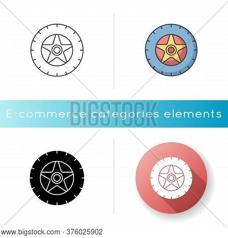Car Tire Icon. Automobile Tyre. Wheel With Rim And Disk. Transportation Maintenance. Round Rubber Pa
