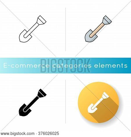 Shovel Icon. Spade To Work On Renovation. Dig Ground. Gardening Tool. Instrument For Farming. Digger