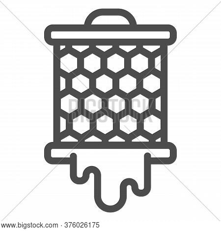 Grid With Honeycombs From Beehive Line Icon, Beekeeping Concept, Bee Honey In Honeycomb Sign On Whit