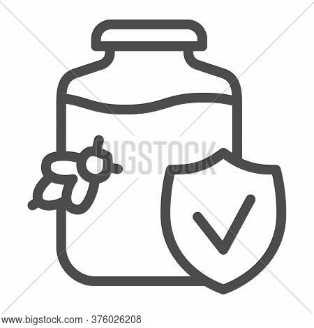 Pure Honey With Verified Logo Line Icon, Honey Concept, Honey Jar And Bee Sign On White Background,