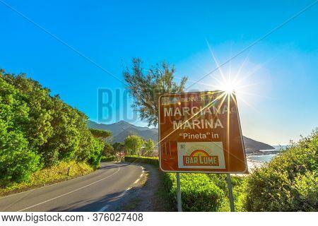 Marciana Marina, Elba Island, Italy - June 17, 2020: Welcome Sign Marciana Marina Tourist Resort Fam