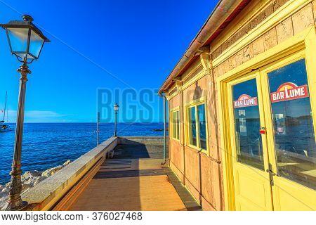 Marciana Marina, Elba Island, Italy - June 17, 2020: Location Set At Sunset Of The Crimes Of Barlume