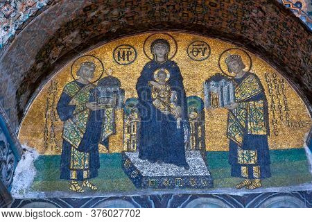 Istanbul, Turkey - August, 2018: Famous Christian Fresco Wall Painting Inside On Hagia Sophia In Ist