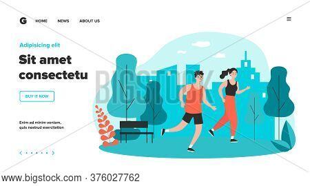 Happy Joggers Running At Park Flat Vector Illustration. Cartoon Runners Jogging Marathon Together. S