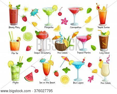 Set Of Tropical Cocklails. Summer Alcoholic Holiday And Beach Party Drinks, Fruit And Berries. Long