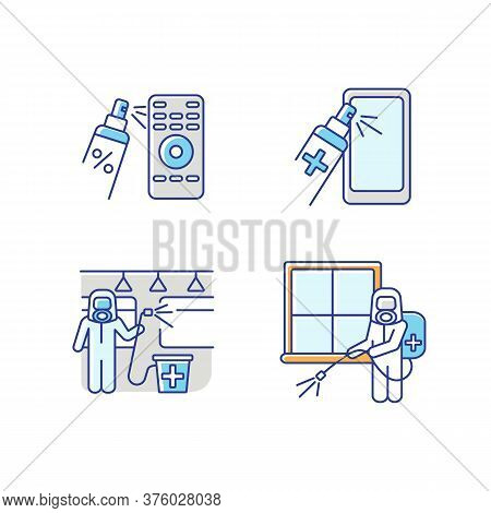 Sterilization Rgb Color Icons Set. Public Transport And Room Fumigation, Handheld Devices Cleaning.