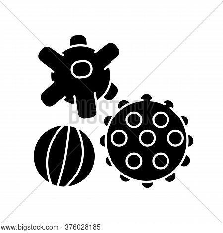 Sensory Balls Black Glyph Icon. Tactile And Spiky Balls. Early Childhood. Toys For Infants Developme