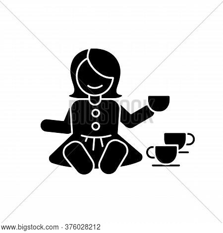 Pretend Kitchenware Black Glyph Icon. Baby Doll With Tea Set. Toys For Playing Pretend Game With Chi