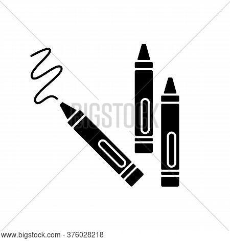 Crayons Black Glyph Icon. Wax Pencils For Drawing. Children Creativity And Fine Motor Skills Develop