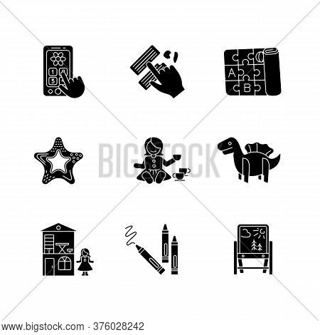 Toddler Toys Black Glyph Icons Set On White Space. Pretend Telephone And Foldable Alphabet Playmat.