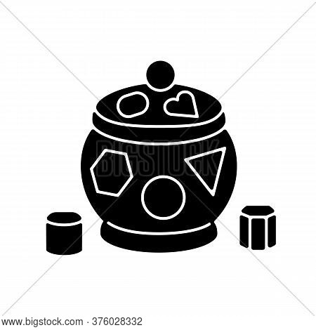 Shape Sorter Pot Black Glyph Icon. Sorting Toy For Toddlers. Early Childhood Education And Activitie
