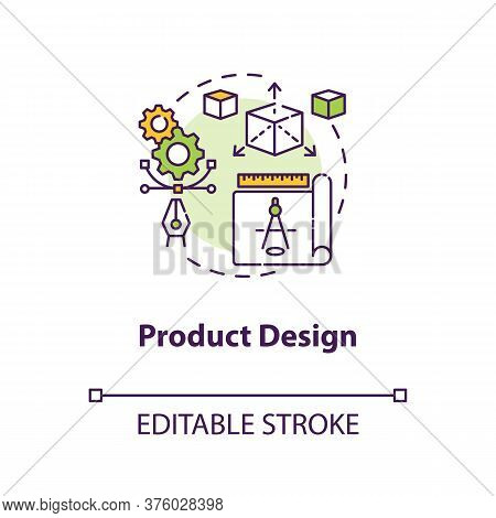 Product Design Concept Icon. Merchandise Modeling. Modern Technology Implementation. Product Managem