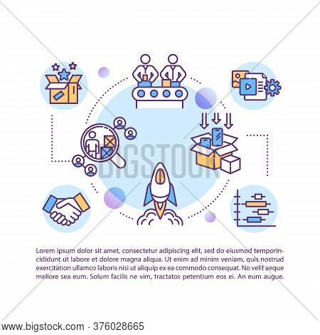 Product Launch Lifecycle Concept Icon With Text. Manufacturing And Distribution Process. Ppt Page Ve