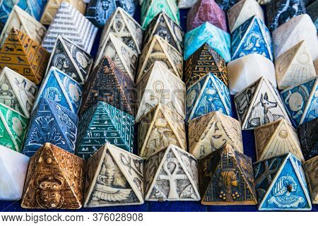 Luxor, Egypt - Jan 30, 2020:The numerous souvenirs at the tourist stall in Luxor. Egypt.