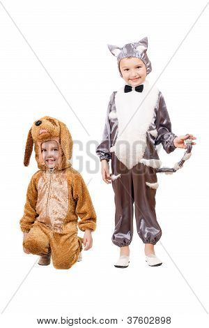 Playful Boys Dressed As A Cat And Dog
