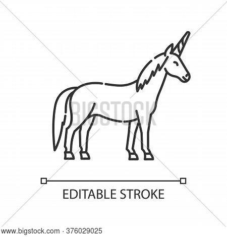 Unicorn Pixel Perfect Linear Icon. Mythical Creature, Fairy Tale Mascot. Thin Line Customizable Illu