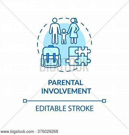 Parental Participation Concept Icon. Parental Involvement And Childhood. Parents Communication With