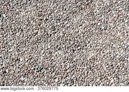 Gravel Texture Small Stones, Little Rocks, Pebbles In Many Shades Of Grey, White, Brown, Pink Colour