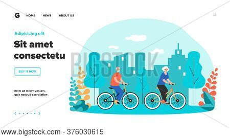 Active Retirement, Recreation Outdoors Old Age Concept. Happy Senior Family Couple Cycling In Park.