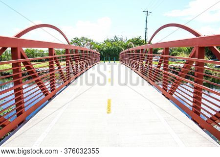 Red Bridge Located Outside Of Biscayne National Park In Homestead, Florida, Bridge Leading To Fishin