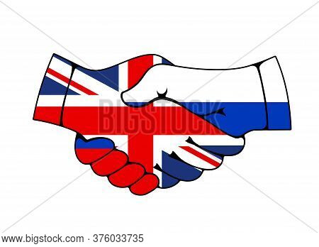 Russia And Great Britain Collaboration Partnership And Cooperation, Flag Handshake Vector Icon. Uk A