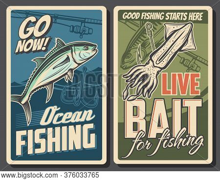 Fishing Retro Posters, Tuna Fish And Squid Catch, Vector Fisher Rods And Hooks. Professional Sea And