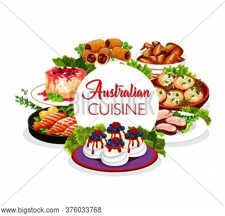 Australian Cuisine Food Dishes Menu, Australia Traditional Meals And Pastry. Australian Veal Meat, L