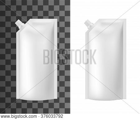Mayonnaise Pouch, Plsstic White Sauce Package, Food Bag Doypack, Vector Mockup. Realistic 3d White B