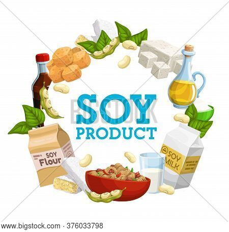 Soybean Food Vector Products, Tofu And Milk, Tempeh Skin And Oil, Meat And Sauce, Flour And Cooking