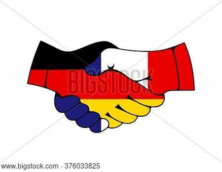 France And Germany Trade, Cooperation Handshake With Flags. Vector Icon Of Economics, Partnership An