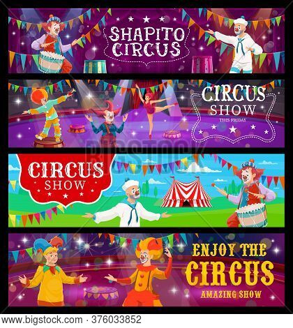 Big Top Tent Circus Banners, Funfair Carnival Show Clowns And Acrobats, Vector. Big Top Circus Shapi