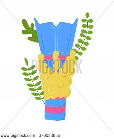 Isolated Abstract Vector Illustration Anatomical Thyroid Gland With Organs Of Laryngo Pharynx. Plant