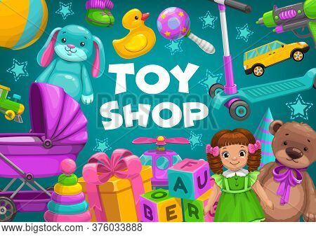 Kids Toy Shop, Baby Store Child Games, Vector Car, Train, Teddy Bear And Doll. Toy Shop Boy And Girl