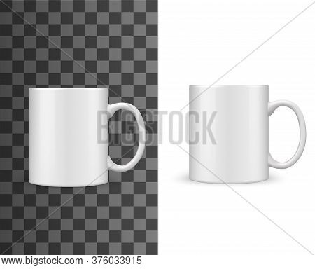 Tea Mug Or Cup Mockup, White Blank Vector Isolated 3d Realistic Object. Tea Mug Or Coffee Cup Of Whi