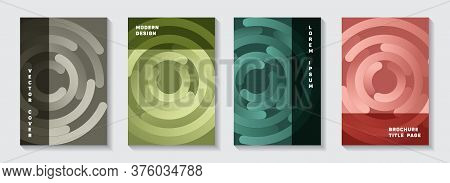 Marketing Booklet Front Pages Collection. Minimal Newsletter Circles Spiral Motion Vector Backdrops.