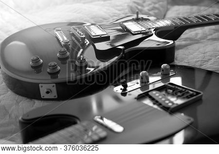 Electric Guitar, Used To Play Music And Notes, Macro Abstract Black And White