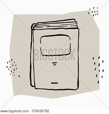 Book Painted With Brush And Ink. Black And White Sketch. Vector Illustration.
