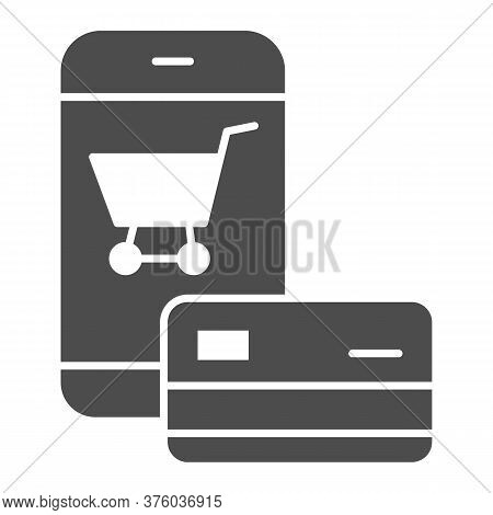 Smartphone And Credit Card Solid Icon, Shopping Concept, Mobile Payment From Credit Card Sign On Whi