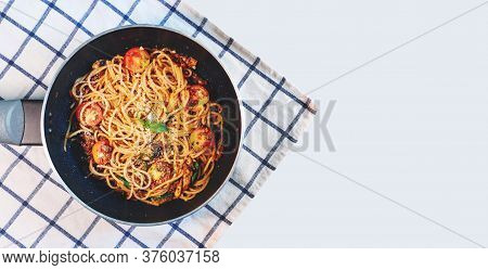 Top View, Pasta Bolognese Tomatoes Sauce In Frying Pan