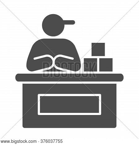 Market Seller Solid Icon, Market Concept, Male Seller At Checkout Sign On White Background, Vendor O