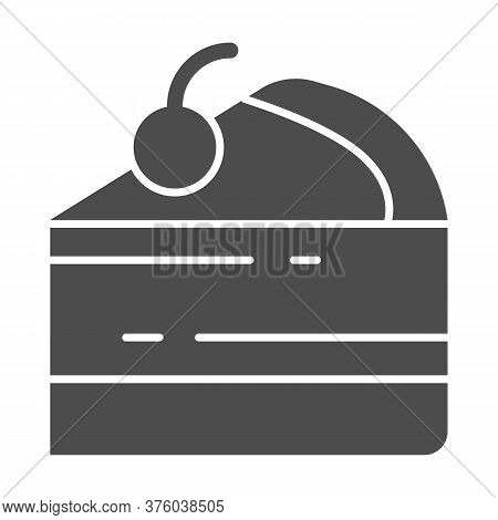 Cake Piece Solid Icon, Street Food Concept, Slice Of Pie With Cherry Sign On White Background, Piece