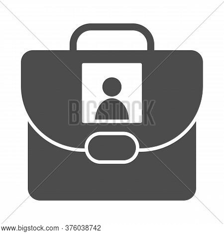 Personal School Bag Solid Icon, Back To School Concept, Bag With Photo Sign On White Background, Per