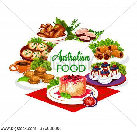 Australian Cuisine Food, Lunch, Dinner Meals Menu, Rinks And Snacks, Vector Buffet. Australian Veal