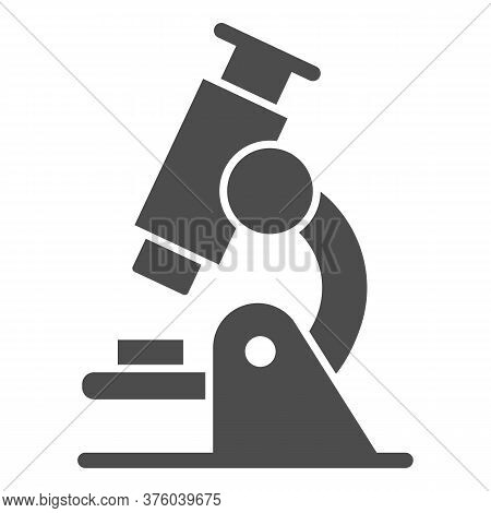 Microscope Solid Icon, Education Concept, Biochemistry And Microbiology Equipment Sign On White Back